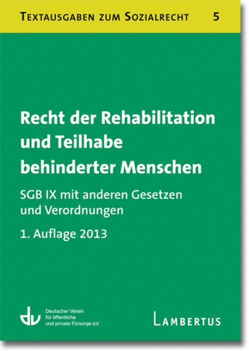 Recht der Rehabilitation und Teilhabe behinderter Menschen cover