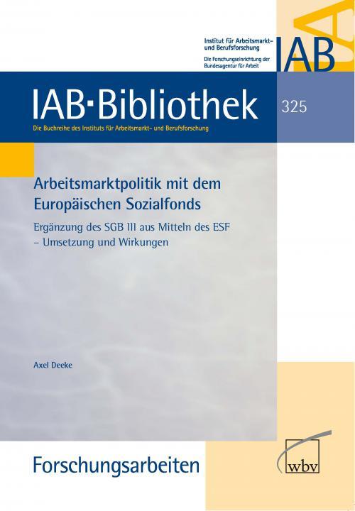 Arbeitsmarktpolitik mit dem Europäischen Sozialfonds cover