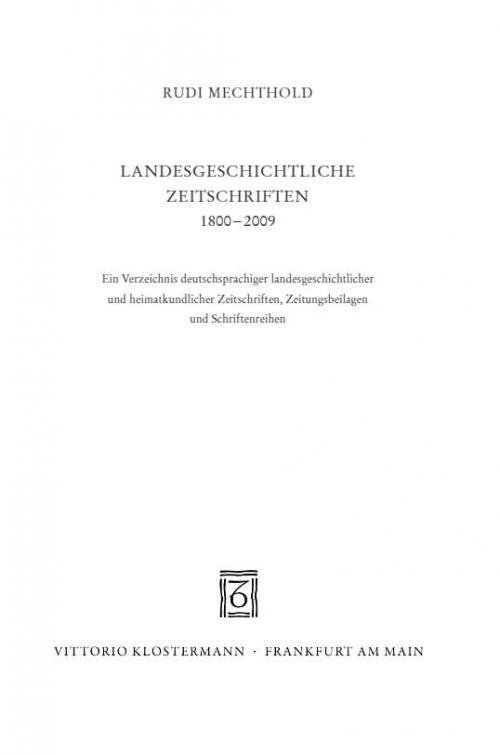 Landesgeschichtliche Zeitschriften 1800-2009 cover