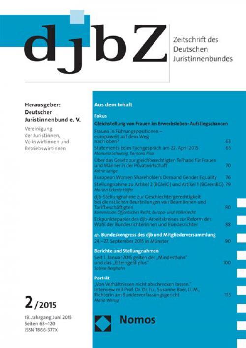 Eckpunktepapier des djb-Arbeitskreises zur Reform der Wahl der Bundesrichterinnen und Bundesrichter cover