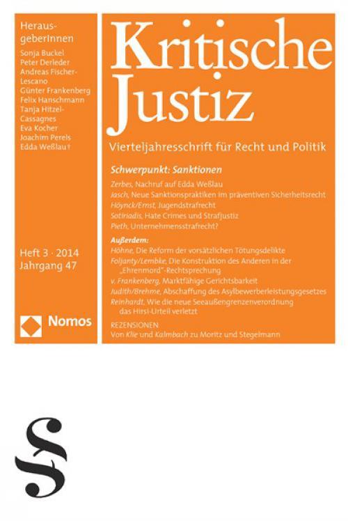 Ausgleichend gegen den Strom. Nachruf auf Edda Weßlau (1956-2014) cover