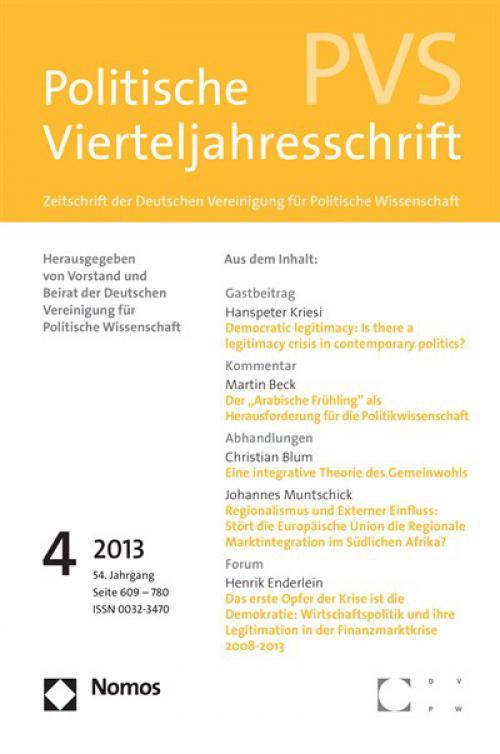 Laudatio: Verleihung des DVPW-Förderpreises für Dissertationen 2013 an Sophia Schubert cover
