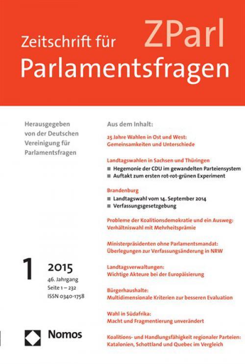 Parlamentarisierung in der EU – Chancen und Grenzen. Eine Veranstaltung der DVParl am 9. April 2014 in Berlin cover