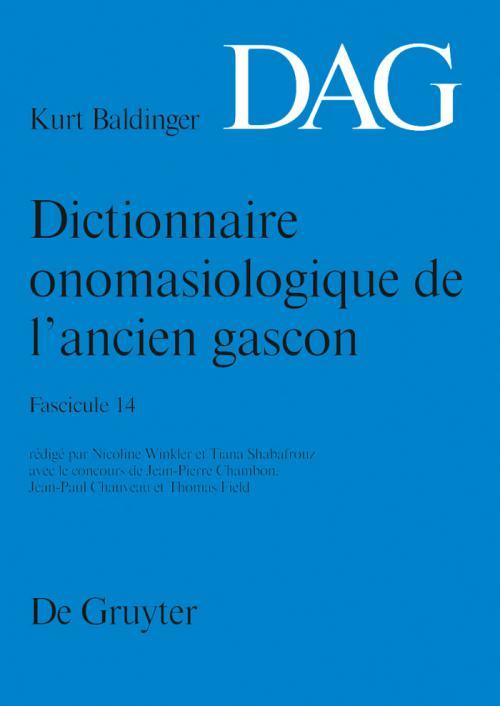 Dictionnaire onomasiologique de l'ancien gascon (DAG). Fascicule 14 cover