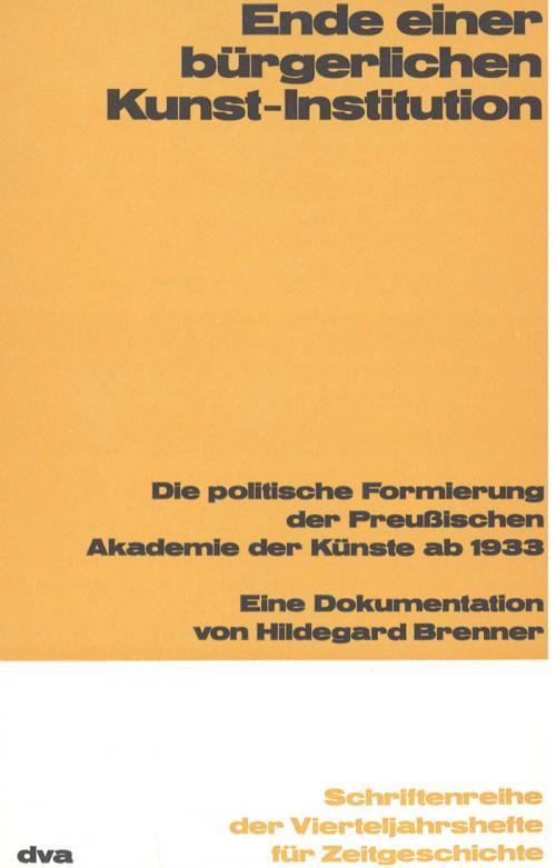 Ende einer bürgerlichen Kunst-Institution cover