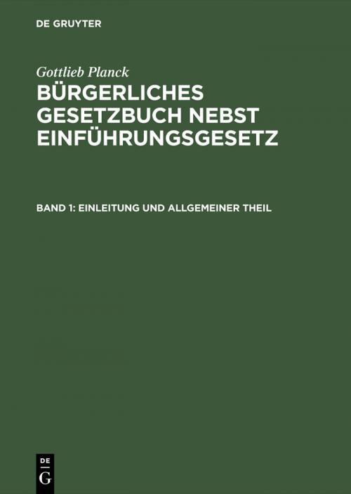 Einleitung und Allgemeiner Theil cover