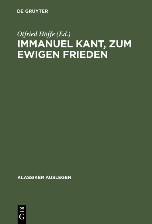 Immanuel Kant, zum ewigen Frieden cover