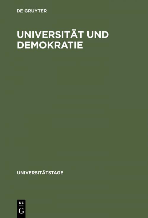 Universität und Demokratie cover