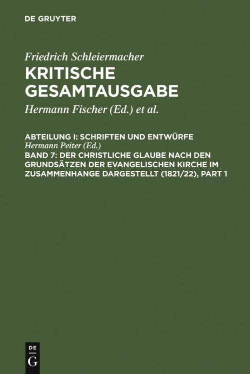 Der christliche Glaube nach den Grundsätzen der evangelischen Kirche im Zusammenhange dargestellt (1821/22) cover