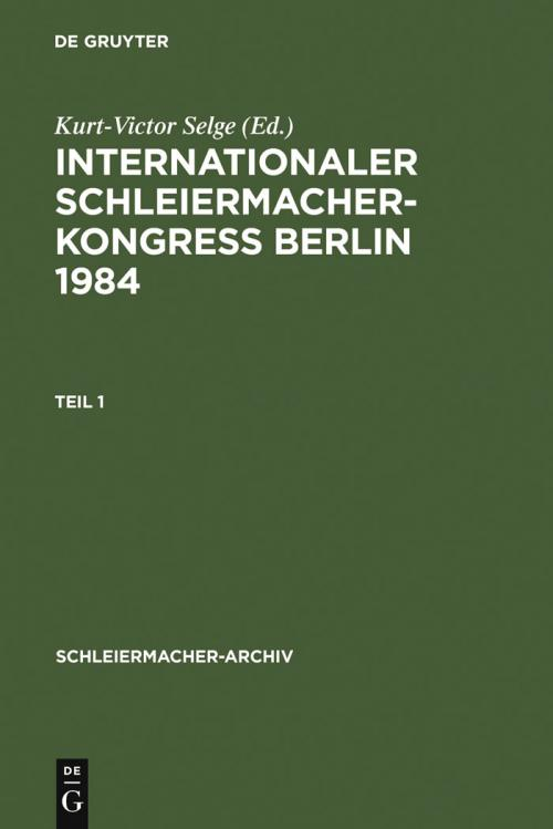 Internationaler Schleiermacher-Kongreß Berlin 1984 cover