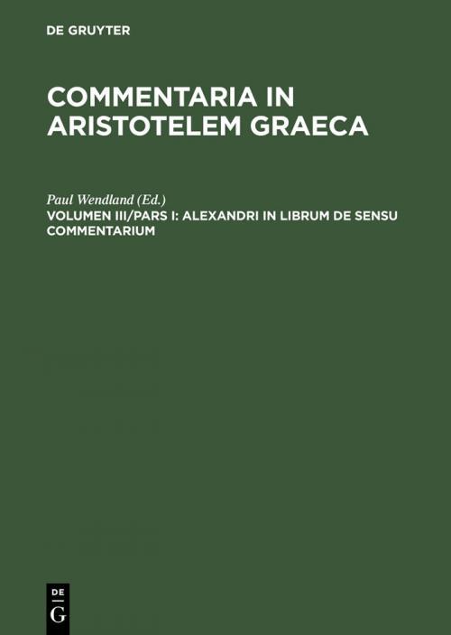 Alexandri in librum De sensu commentarium cover