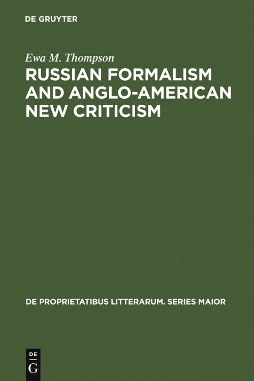 Russian Formalism and Anglo-American New Criticism cover