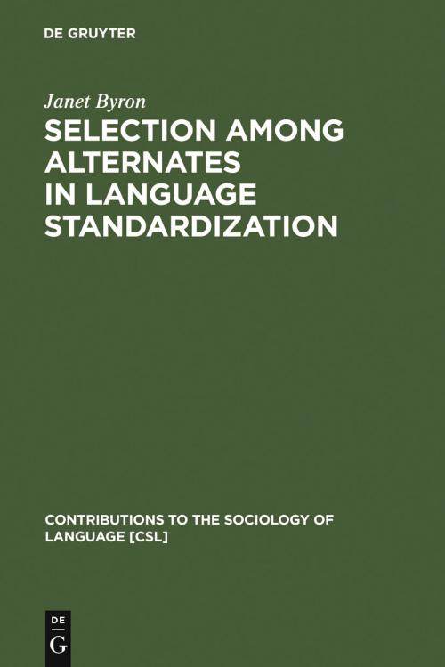 Selection among Alternates in Language Standardization cover