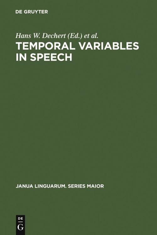 Temporal Variables in Speech cover