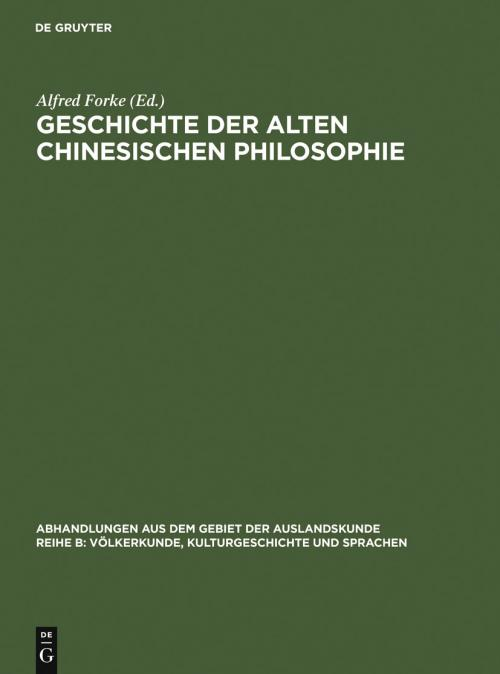 Geschichte der alten chinesischen Philosophie cover