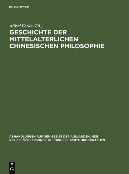 Geschichte der mittelalterlichen chinesischen Philosophie cover