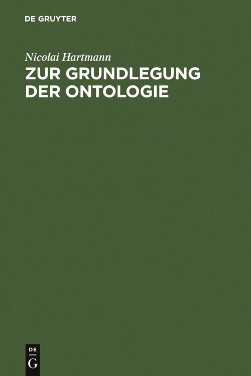 Zur Grundlegung der Ontologie cover