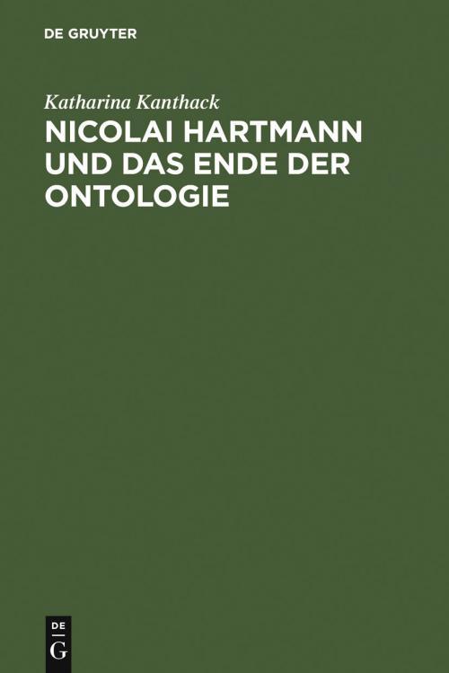 Nicolai Hartmann und das Ende der Ontologie cover