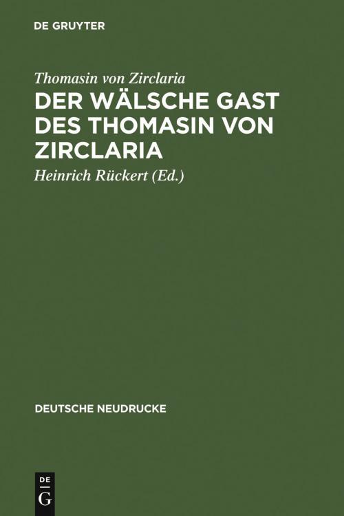 Der wälsche Gast des Thomasin von Zirclaria cover