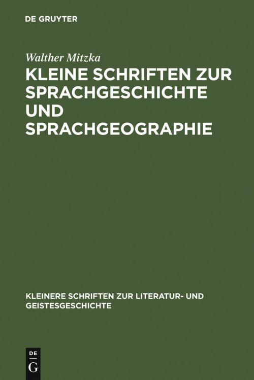 Kleine Schriften zur Sprachgeschichte und Sprachgeographie cover