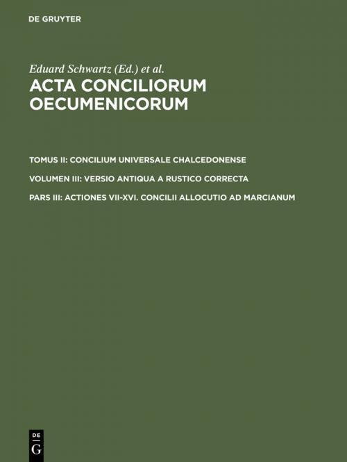 Actiones VII-XVI. Concilii allocutio ad Marcianum cover