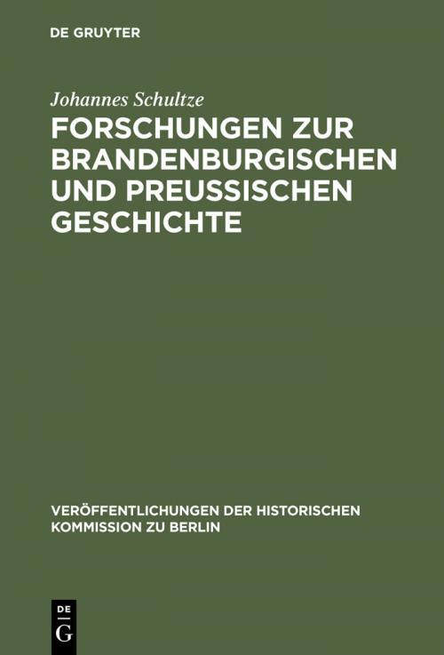 Forschungen zur brandenburgischen und preussischen Geschichte cover