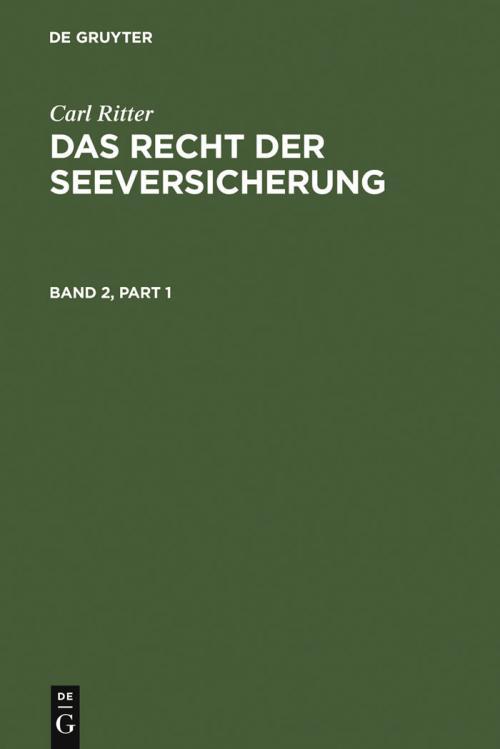 Carl Ritter: Das Recht der Seeversicherung. Band 2 cover