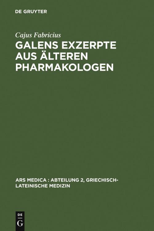 Galens Exzerpte aus älteren Pharmakologen cover