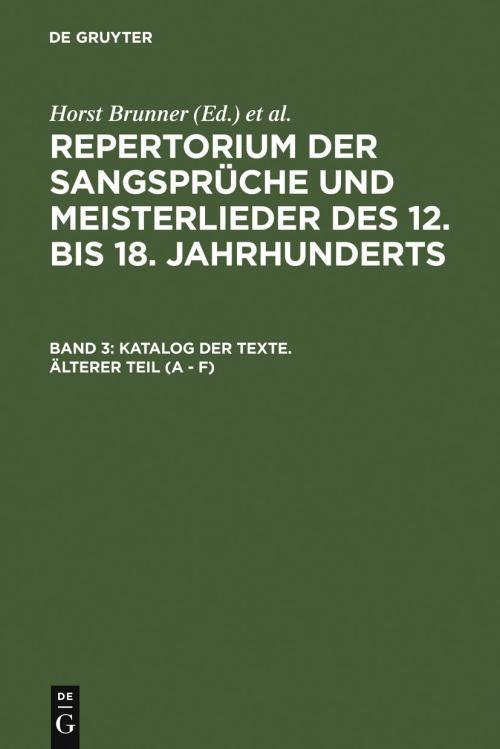 Katalog der Texte. Älterer Teil (A - F) cover