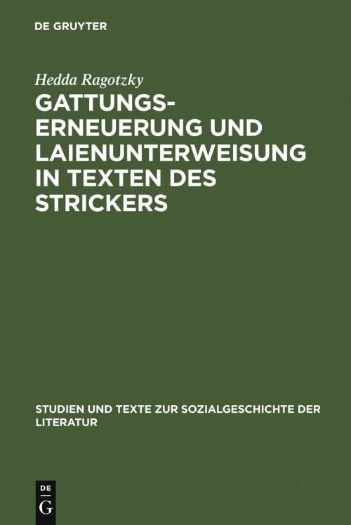 Gattungserneuerung und Laienunterweisung in Texten des Strickers cover