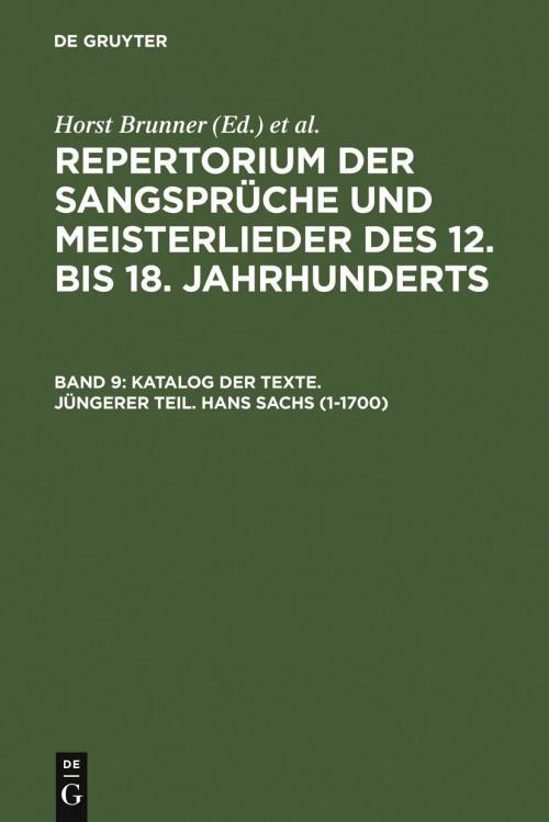 Katalog der Texte. Jüngerer Teil. Hans Sachs (1-1700) cover