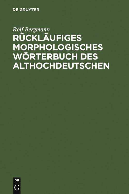 Rückläufiges morphologisches Wörterbuch des Althochdeutschen cover