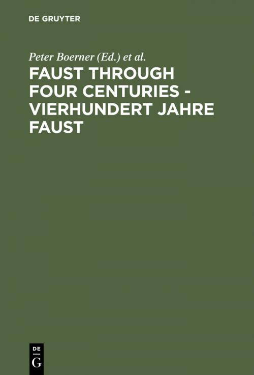 Faust through Four Centuries - Vierhundert Jahre Faust cover