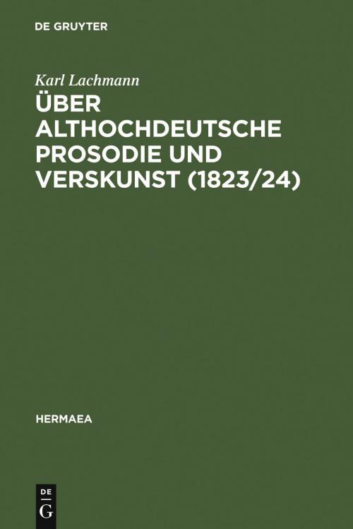 Über althochdeutsche Prosodie und Verskunst (1823/24) cover