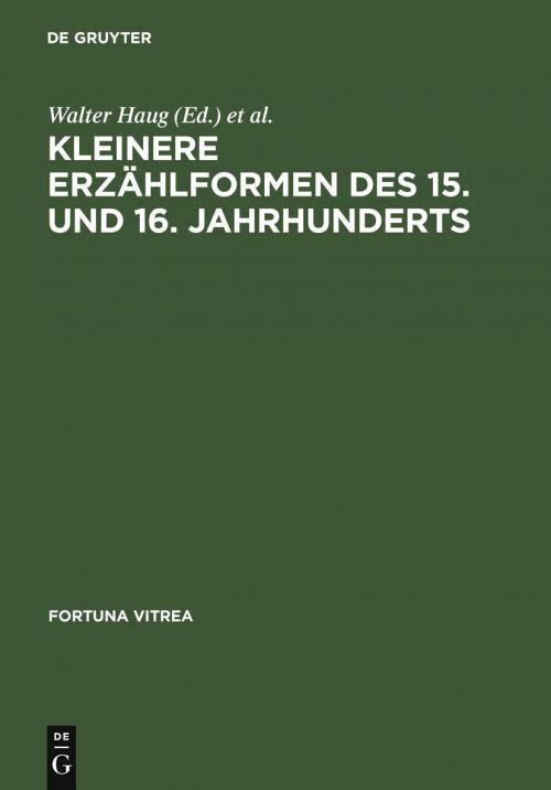 Kleinere Erzählformen des 15. und 16. Jahrhunderts cover