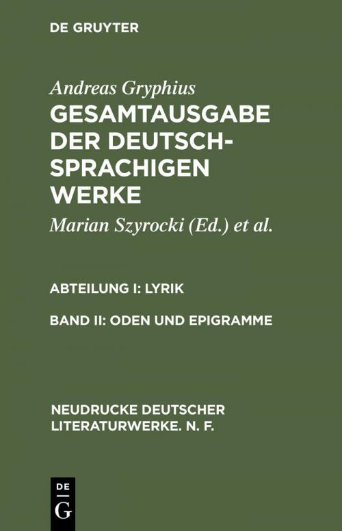 Oden und Epigramme cover
