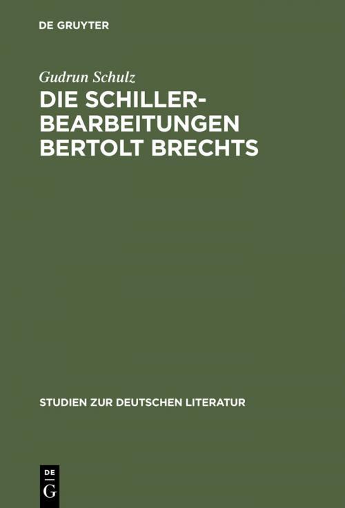 Die Schillerbearbeitungen Bertolt Brechts cover