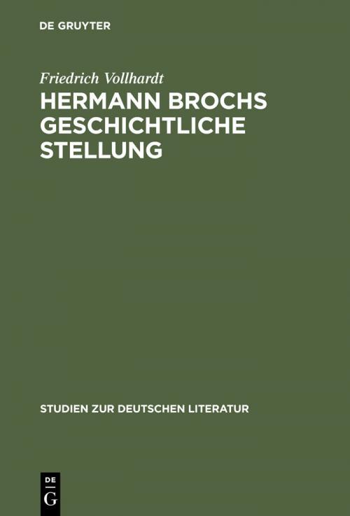 Hermann Brochs geschichtliche Stellung cover