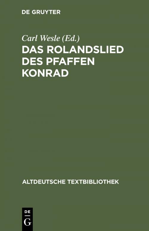 Das Rolandslied des Pfaffen Konrad cover