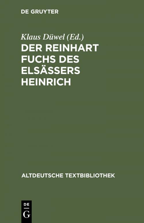 Der Reinhart Fuchs des Elsässers Heinrich cover