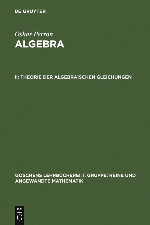 Theorie  der  algebraischen  Gleichungen cover