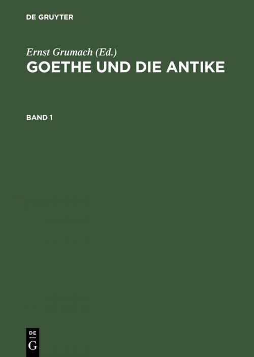 Goethe und die Antike cover