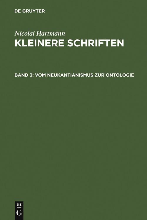 Vom Neukantianismus zur Ontologie cover