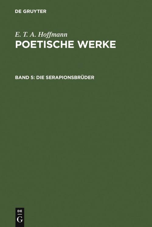 Die Serapionsbrüder, Band 1 cover