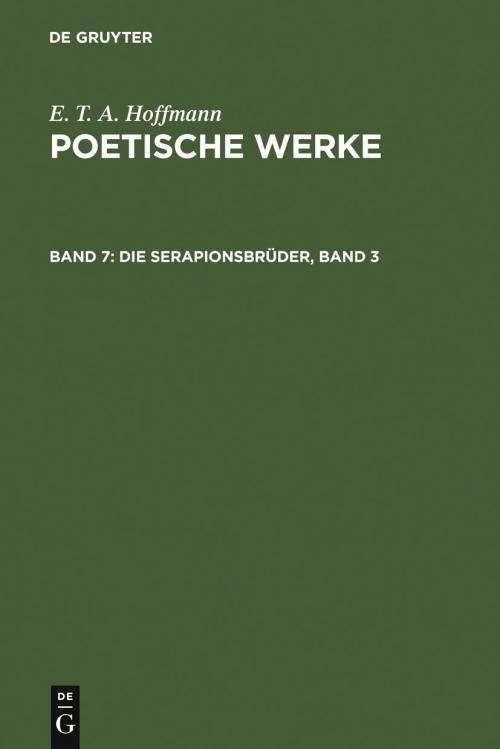 Die Serapionsbrüder, Band 3 cover