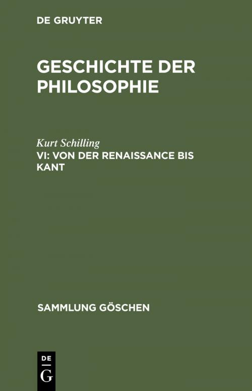 Von der Renaissance bis Kant cover