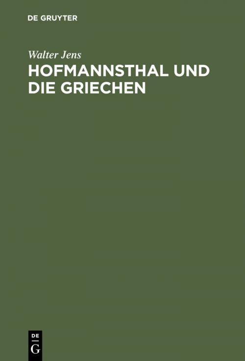 Hofmannsthal und die Griechen cover