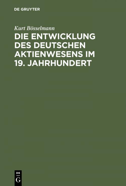 Die Entwicklung des deutschen Aktienwesens im 19. Jahrhundert cover