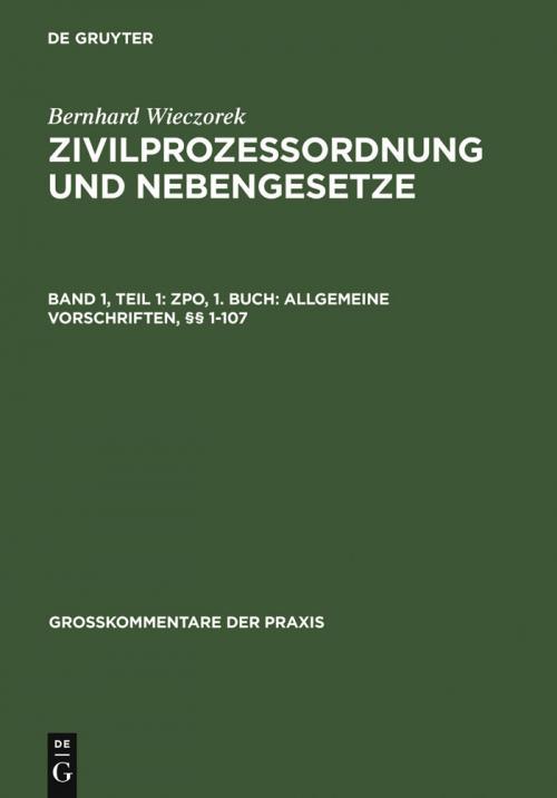 ZPO, 1. Buch: Allgemeine Vorschriften, §§ 1-107 cover