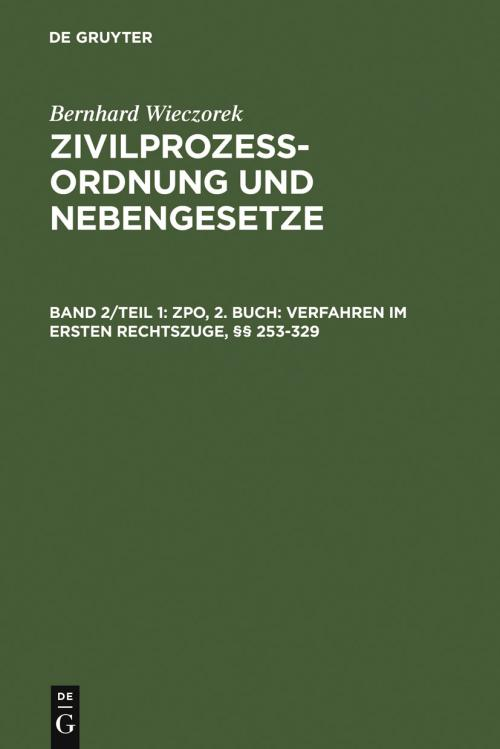 ZPO, 2. Buch: Verfahren im ersten Rechtszuge, §§ 253-329 cover